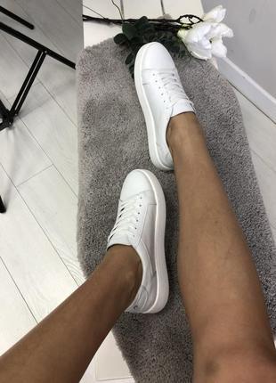 Кеды белые кожаные5 фото