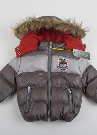"""Детская теплая куртка """"норм"""" коричневая для мальчика, размер 6-9 мес"""