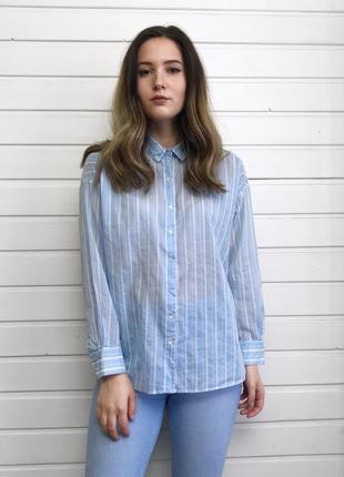 Хлопковая оверсайз рубашка h&m
