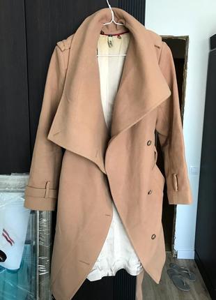 Пальто тёплое бежевое андре тан