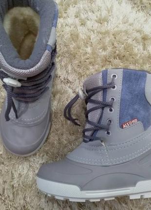 Распродажа!!! детские  зимние сноубутсы alisa line на шнурках, 100% джинс, голубой