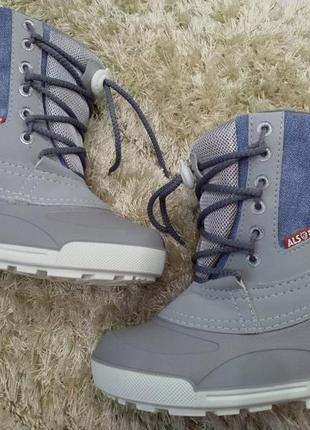 Распродажа!!! детские  зимние сноубутсы alisa line на шнурках, 100% джинс, голубой2