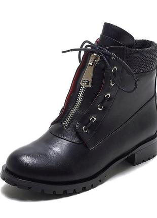 Ботинки с молнией и шнуровкой зима кожа