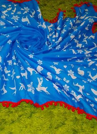 Синий хлопковый платок