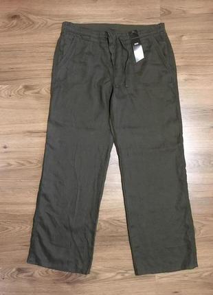 Льняные широкие брюки,хаки,100%лён