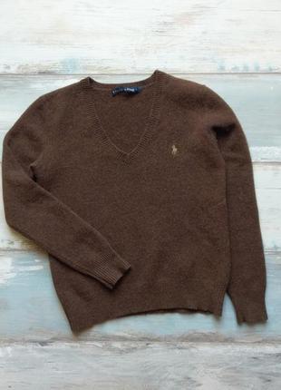Шерстяной  коричневый свитер ralph lauren