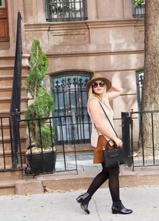 Кожаная 100% бежевая коричневая на подкладке короткая юбка