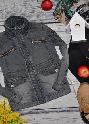 12 лет 152 см обалденный фирменный джинсовый пиджак куртка с нашивками унисекс франция
