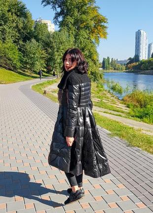 Женский черный натуральный пуховик - платье, теплая куртка