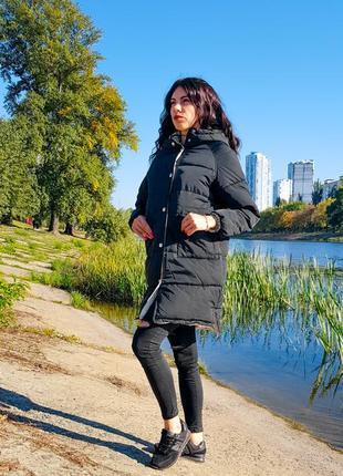 Женская черная длинная куртка