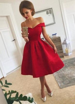 Красное миди платье1