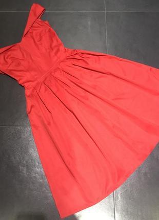 Красное миди платье2