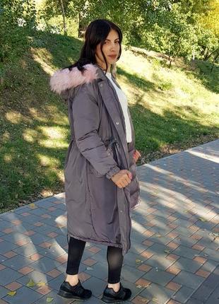 Длинная женская серая куртка с капюшоном