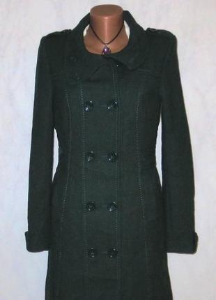 Стильное шерстяное пальто изумрудного цвета от h&m размер: 44-s, m