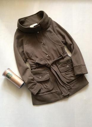 Прикольня трикотажная парка куртка пальто на подкладке с необычным воротником