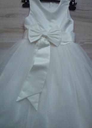 Платье белое выпускное бальное с бантом victoria kids р.134