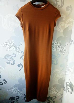 Платье миди  h&m горчичного цвета, длинное платье по фигуре