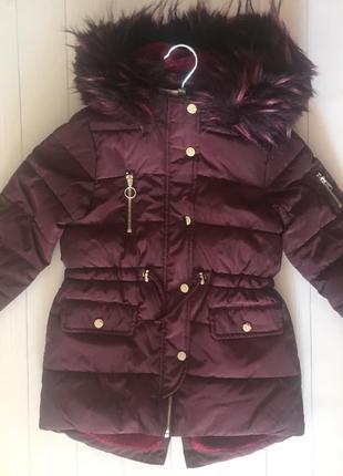 Зимняя куртка для девочки с мехом matalan англия размер 122