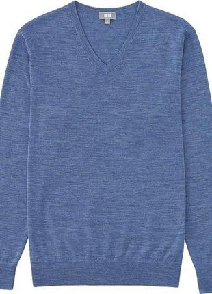 Синяя шерстяная кофта uniqlo