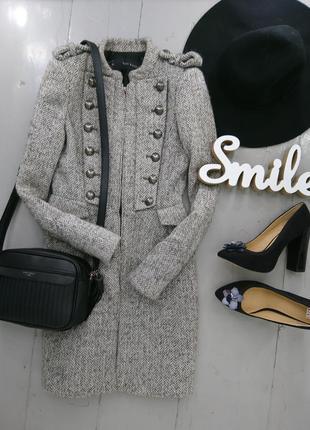 Теплое шерстяное пальто в стиле милитари №12