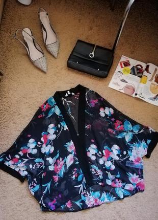 Стильная шифоновая накидка, цветочный кардиган new look
