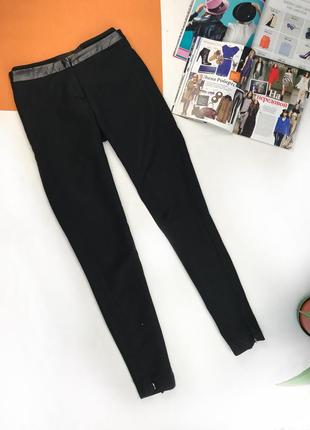 Брюки классические штаны офисные с кожаными вставками на поясе