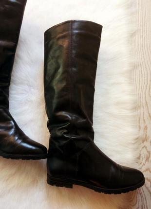 Черные высокие натуральные кожаные зимние сапоги производства италии теплые на меху