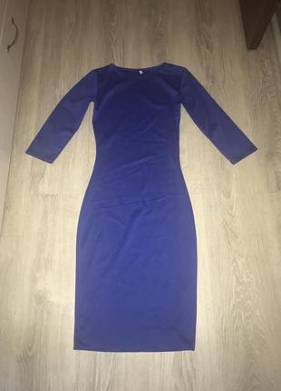 Классическое трикотажное синее миди платье на осень