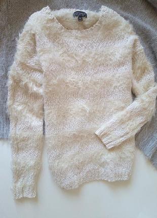 Пушистый свитер джемпер травка