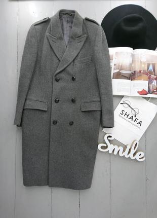 Актуальное  винтажное двубортное шерстяное пальто №15