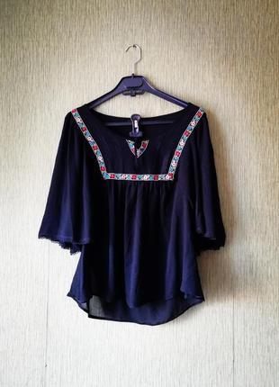 👑 блуза с вышивкой и расклешенным рукавом👑чёрная блуза george