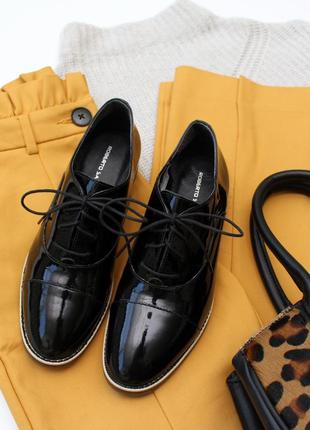 Шкіряні лакові оксфорди roberto santi / 23 см / кожаные женские туфли