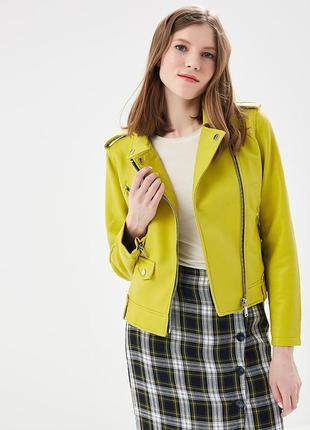Яркая косуха mango. женская кожаная куртка, желтая кожанка