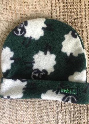 Флисовая шапка шапочка бини с овечками traditional craftwear irish на 1-2 года