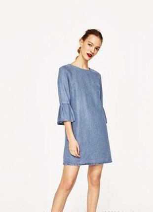Акция 1 1=3! шикарное джинсовое платье с рюшами, воланами, прямой крой zara🔥