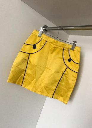 Женская модная яркая летняя желтая с черным короткая юбка завышенная посадка
