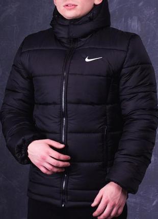 Мужская подростковая куртка пуховик осень зима весна nike black чёрная найк