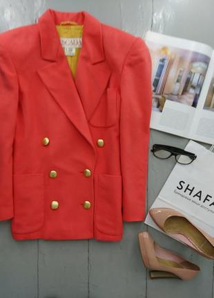Актуальный винтажный шерстяной двубортный пиджак