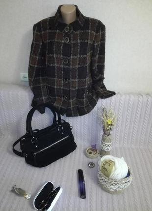 Укороченное шерстяное пальто-пиджак в клетку gerry weber, р.20