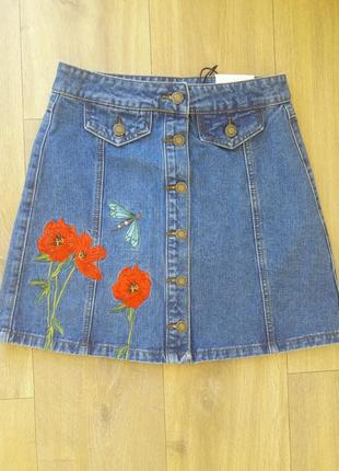 Джинсовая юбка на болтах3 фото