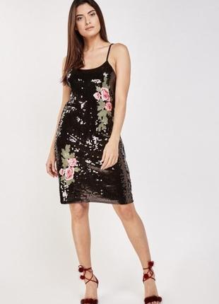 Платье в пайетки с аппликацией s m l