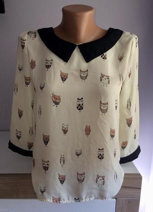 Очень красивая и нарядная шифоновая блузка в совушки