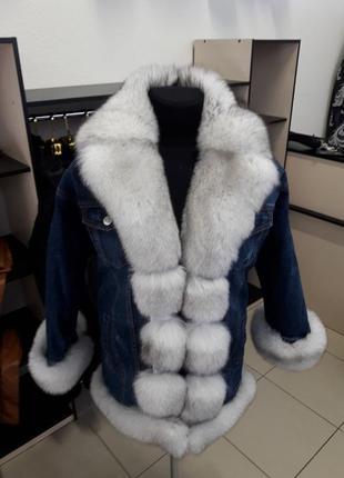 Джинсовая парка с мехом песца джинсовая куртка с мехом парка джинсовая с финским песцом