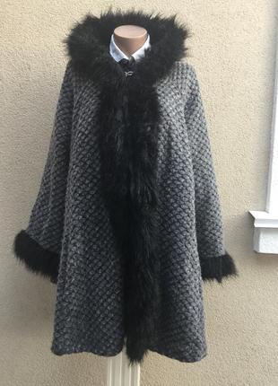 Шерсть,фактурное пальто-пончо,кардиган с капюшоном,мех,большой размер