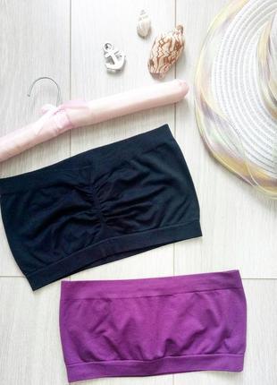 Набор: 2 бесшовных топа: черный бюстгальтер, бандо + фиолетовый спортивный лиф