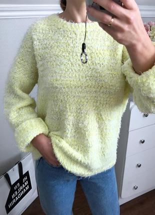 Желтый оверсайз свитер травка atmosphere