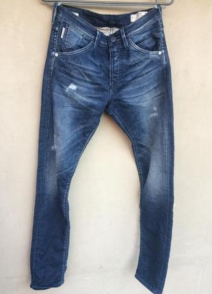 Оригинальные мужские джинсы стрейч высокая посадка рваные