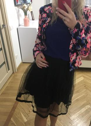 Новая трендовая юбка фатиновая юбочка пачка чёрная хс с юбка