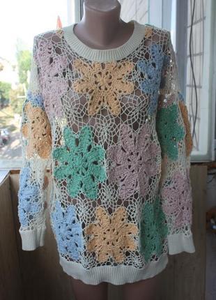 Стильная вязаная кофта свитер от asos в бохо стиле