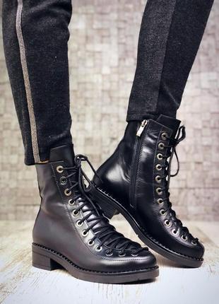 Рр 36-40 натуральная кожа люксовые эксклюзивные ботинки с необычной шнуровкой
